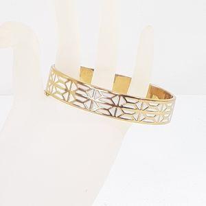 Stella & Dot Gold Hinged Bangle Cuff Bracelet